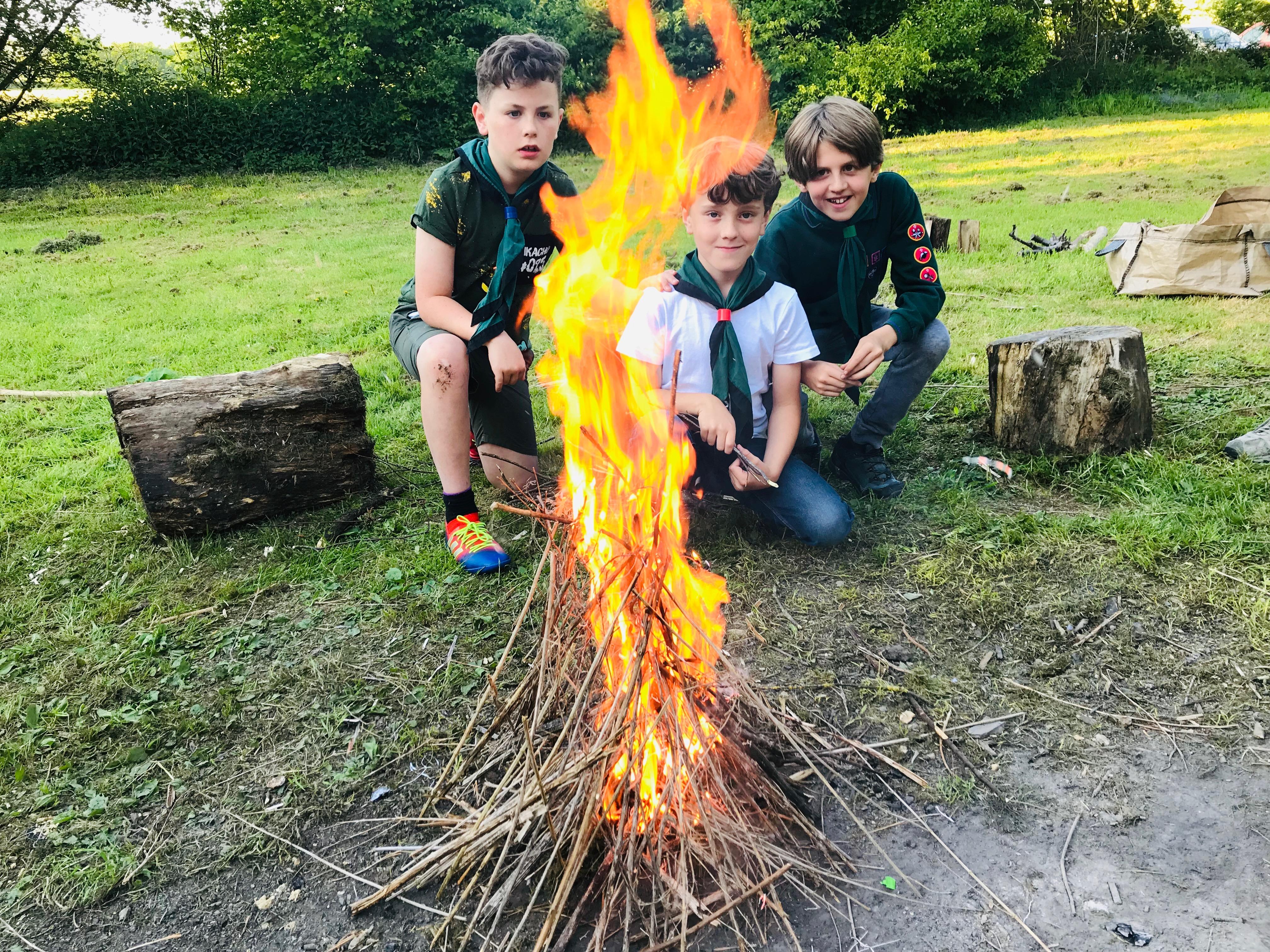Cubs Firelighting at Welton Campsite June 2019